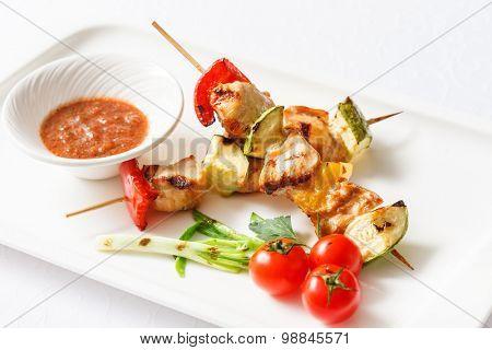 Skewered Chicken with vegetables