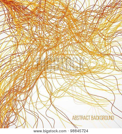 Absract orange bright background with chaotic lines