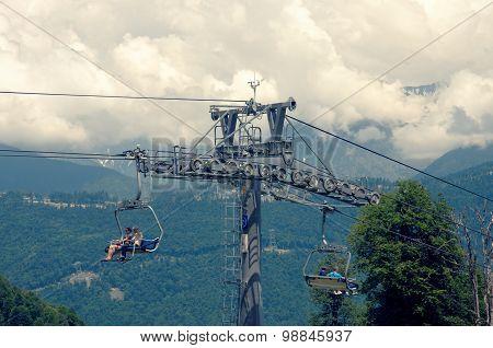 Ski lift system in Rosa Khutor Alpine Resort