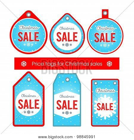 Vector. Set creative tags and stickers with Christmas sale blue