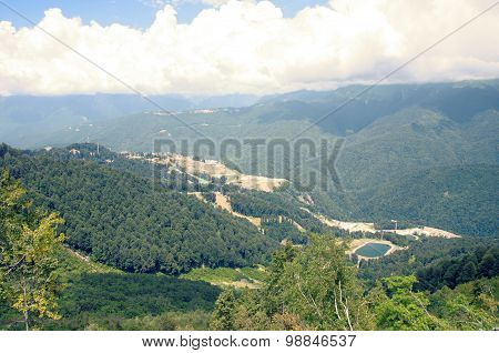 Top view on lake