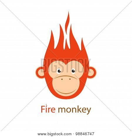 Vector illustration. Funny Redhead fiery monkey on a white backg