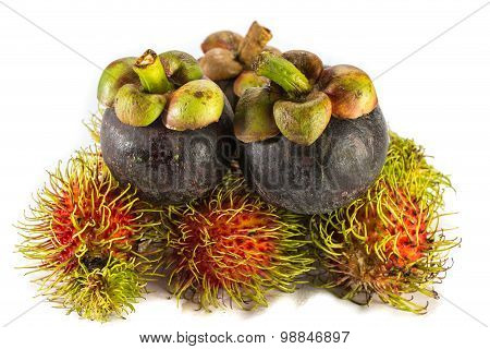 Mangosteen And Rambutan Are One Of Delicious Thai Fruit On White Background