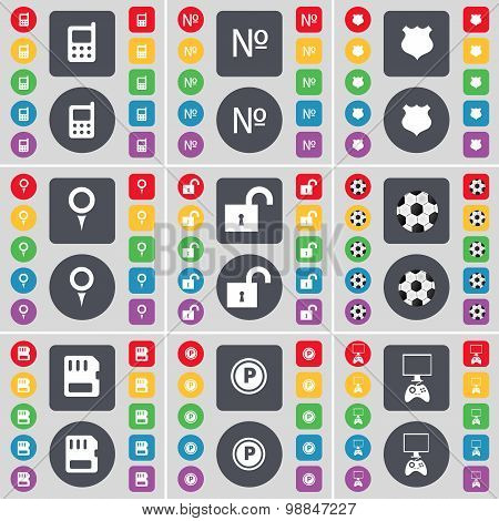 Mobilephone, Number, Badge, Checkpoint, Lock, Ball, Sim Card, Parking, Game Console Icon Symbol. A L