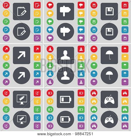 Notebook, Signpost, Floppy, Full Screen, Silhouette, Umbrella, Monitor, Battery Low, Gamepad Icon Sy