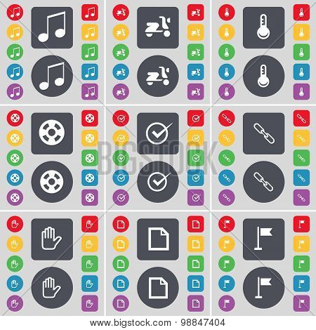 Note, Scooter, Thermometer, Videotape, Tick, Link, Hand, File, Golf Hole Icon Symbol. A Large Set Of