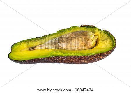 Haft Of Avocado Over White Background
