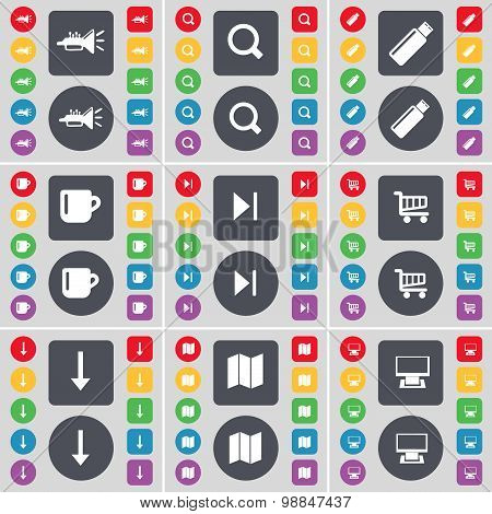 Trumped, Magnifying Glass, Usb, Cup, Media Skip, Shopping Cart, Arrow, Map, Monitor Icon Symbol. A L