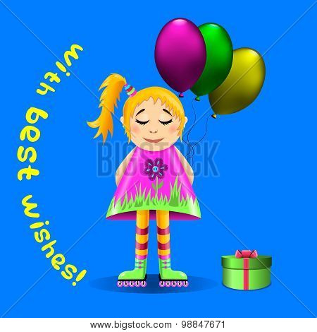 Greeting Card With A Girl On Roller Skates