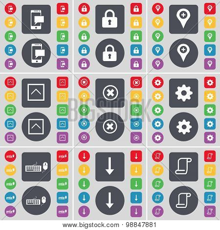 Sms, Lock, Checkpoint, Arrow Up, Stop, Gear, Keyboard, Arrow Down, Scroll Icon Symbol. A Large Set O