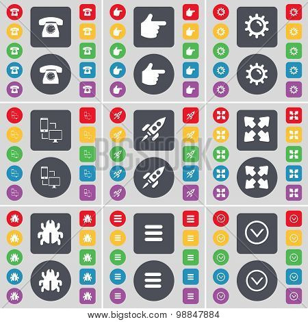 Retro Phone, Hand, Gear, Information Exchange, Rocket, Full Screen, Bug, Apps, Arrow Down Icon Symbo
