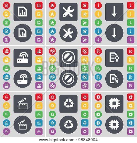 Diagram File, Wrench, Arrow Down, Router, Stop, File, Clapper, Recycling, Processor Icon Symbol. A L