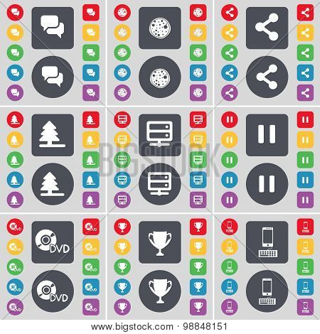 Chat, Pizza, Share, Firteee, Server, Pause, Dvd, Cup, Smartphone Icon Symbol. A Large Set Of Flat, C