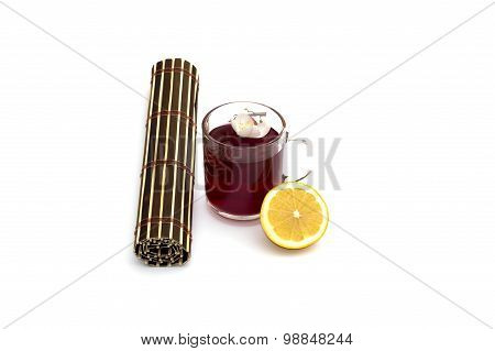 Red Drink, Lemon, Flower And Rug