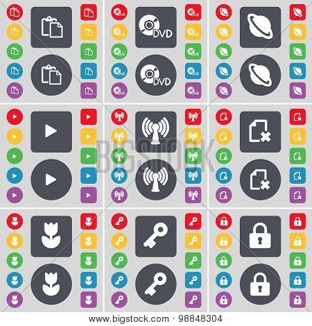 Survey, Dvd, Planet, Media Play, Wi-fi, File, Flower, Key, Lock Icon Symbol. A Large Set Of Flat, Co
