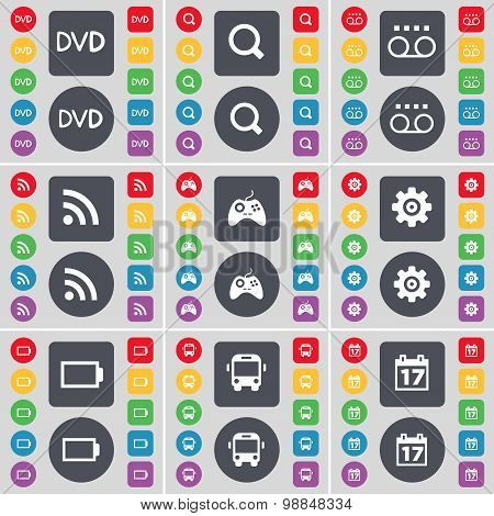 Dvd, Magnifying Glass, Cassette, Rss, Gamepad, Gear, Battery, Bus, Calendar Icon Symbol. A Large Set