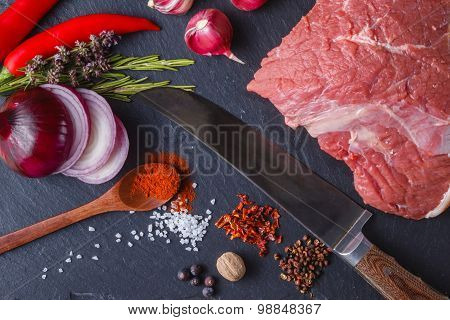 Cooking Concept. Meat And Spices On Slate Plate