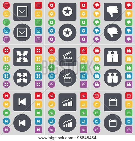 Arrow Down, Star, Dislike, Full Screen, Clapper, Binoculars, Media Skip, Diagram,  Calendar Icon Sym