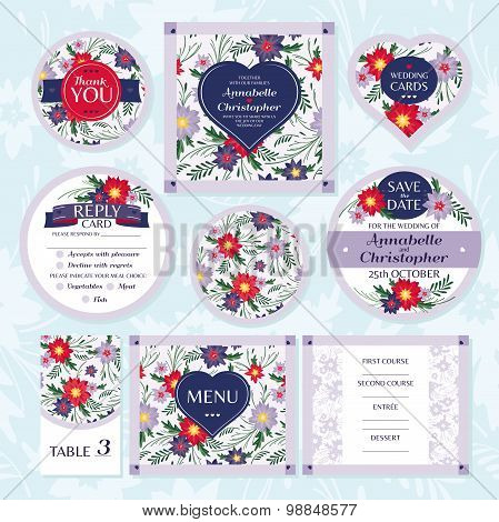 Set Of Floral Wedding Cards