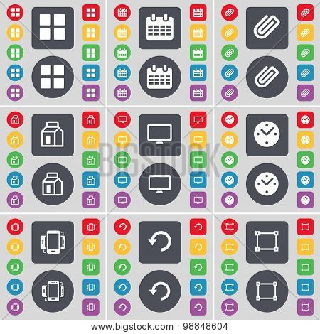 Apps, Calendar, Clip, Packing, Monitor, Clock, Smartphone, Reload, Frame Icon Symbol. A Large Set Of