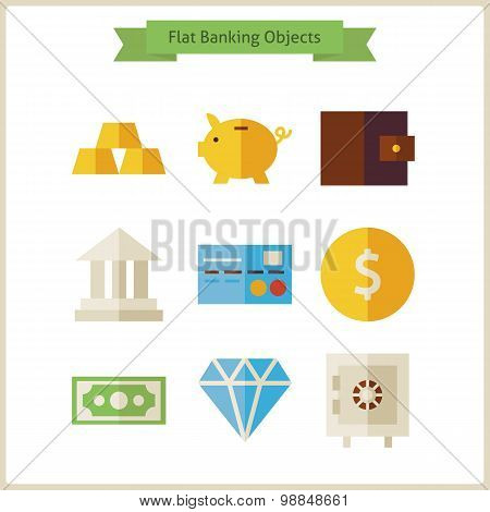 Flat Money And Banking Objects Set
