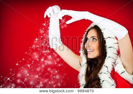Santa Woman And Snowflakes