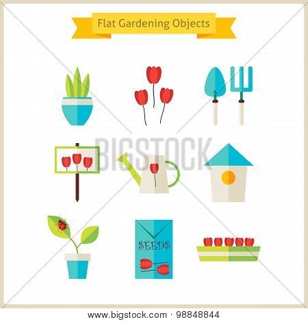 Flat Spring And Gardening Objects Set