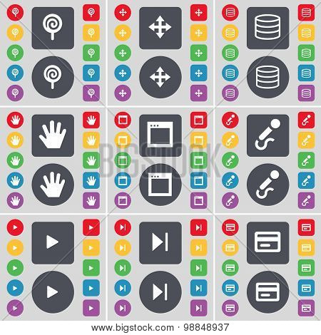 Lollipop, Moving, Database, Hand, Window, Microphone, Play, Media Skip, Credit Card Icon Symbol. A L