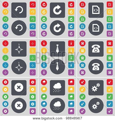 Reload, File, Compass, Tie, Retro Phone, Stop, Cloud, Gear Icon Symbol. A Large Set Of Flat, Colored