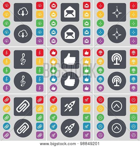 Cloud, Message, Compass, Clef, Like, Wi-fi, Clip, Rocket, Arrow Up Icon Symbol. A Large Set Of Flat,