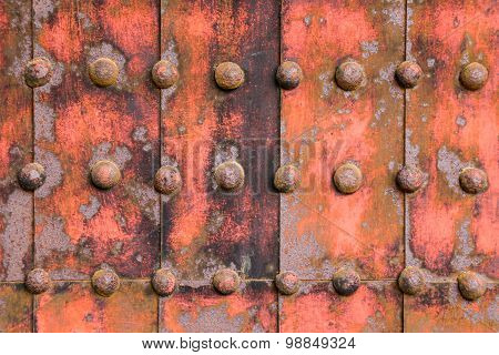 Iron Fortified Plate Abstract Background With Iron Knobs