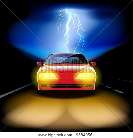 Red car racing on the road at night with a lightning on the background