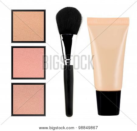 Face Powder And Liquid Makeup Foundation Isolated On White Background