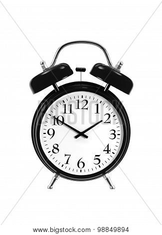 Close Up Of A Black Bell Clock (alarm Clock) Isolated On White