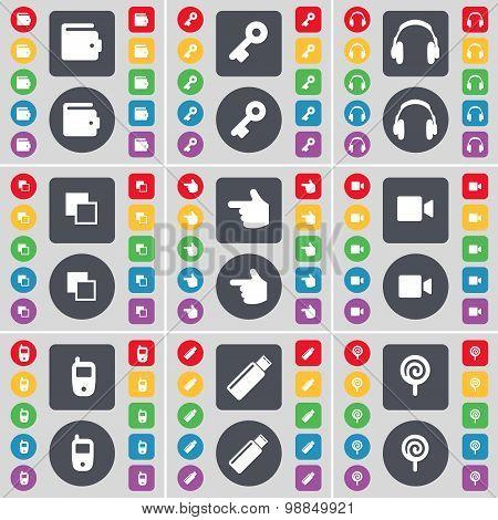 Wallet, Key, Headphones,  Copy, Hand, Film Camera, Mobile Phone, Usb, Lollipop Icon Symbol. A Large