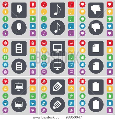 Mouse, Note, Dislike, Battery, Monitor, File, Graph, Pencil Icon Symbol. A Large Set Of Flat, Colore