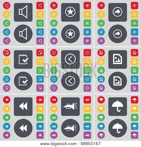 Sound, Star, Back, Survey, Arrow Left, Media File, Rewind, Trumped, Umbrella Icon Symbol. A Large Se