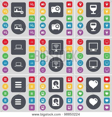 Picture, Projector, Wineglass, Laptop, Monitor, Apps, Hard Drive, Heart Icon Symbol. A Large Set Of