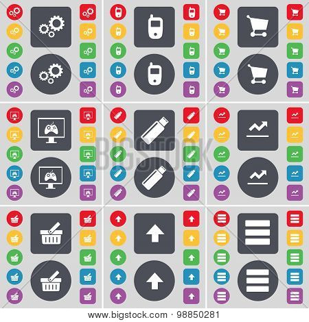 Gears, Mobile Phone, Shopping Cart, Monitor, Usb, Graph, Basket, Arrow Up, Apps Icon Symbol. A Large