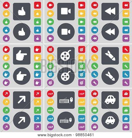 Like, Film Camera, Rewind, Hand, Videotape, Rocket, Full Screen, Keyboard, Car Icon Symbol. A Large