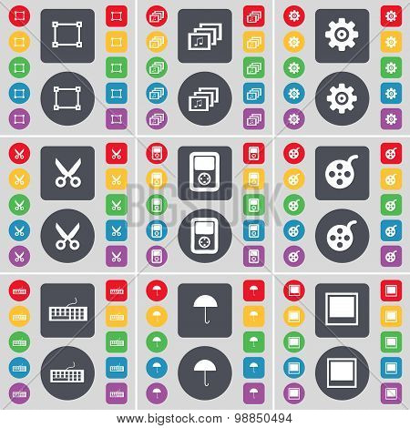Frame, Gallery, Gear, Scissors, Player, Videotape, Keyboard, Umbrella, Window Icon Symbol. A Large S