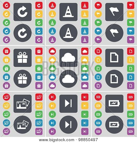 Reload, Cone, Flag, Gift, Cloud, File, Picture, Media Skip, Charging Icon Symbol. A Large Set Of Fla