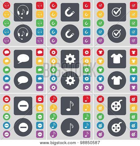 Headphones, Magnet, Tick, Chat Bubble, Gear, T-shirt, Minus, Note, Videotape Icon Symbol. A Large Se