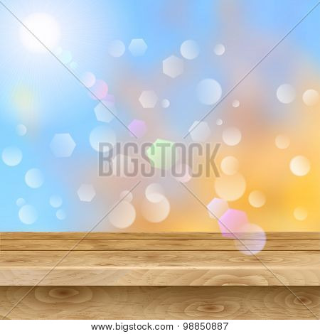 Empty Table Of Wooden Planks On Autumn Background