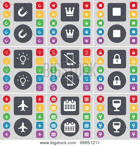 Magnet, Crown, Media Stop, Light Bulb, Smartphone, Lock, Airplane, Calendar, Wineglass Icon Symbol.