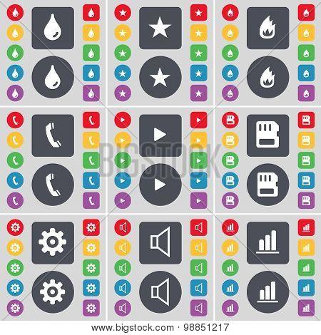 Drop, Star, Fire, Receiver, Media Play, Sim Card, Gear, Sound, Diagram Icon Symbol. A Large Set Of F