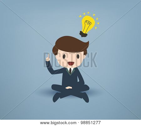 Cartooned Young Businessman Sitting with Legs Crossed, Pointing his Finger Up with Yellow Bulb on Over his Head Against Gray Background.