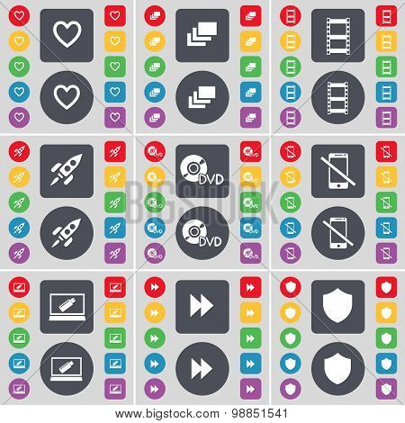 Heart, Gallery, Negative Films, Rocket, Dvd, Smartphone, Laptop, Rewind, Badge Icon Symbol. A Large