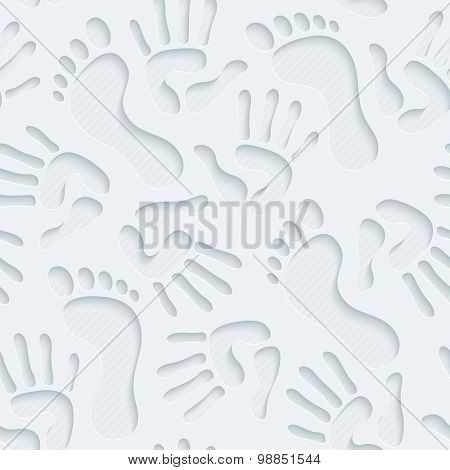 Handprints & footprints wallpaper. 3d seamless background. Vector EPS10.