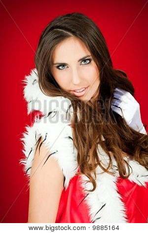 Portrait Of A Beautiful Santa Woman